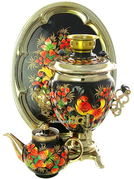 Набор самовар электрический 3 литра с художественной росписью Золотая птица, арт. 155616Комплект из трех предметов:латунный самовар, металлический поднос и заварочный чайник.<br>