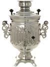 """Электрический самовар 3 литра никелированный \""""Цилиндр\"""" рифленый с ажурными ручками, арт. 158741"""