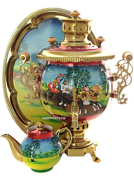 """Комбинированный самовар 4,5 литра с художественной росписью """"Тройка летняя"""" в наборе с подносом и чайником, арт. 300001 Тула"""