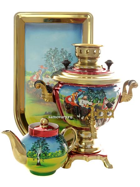 Набор самовар электрический 2 литра с чайником художественная роспись