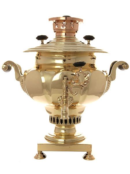 Угольный латунный самовар 6 литров ваза с гранями томпак арт.433348Произведен предположительно на фабрике Николая Маликова в конце XIX века.&#13;<br>Отреставрирован тульскими мастерами и готов к эксплуатации.<br>