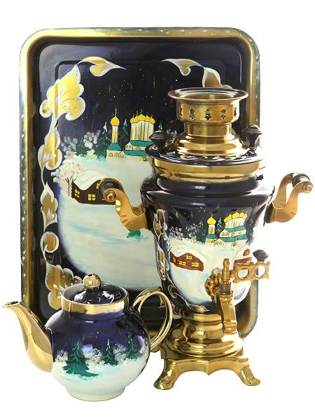 Набор самовар электрический 1,5 литра с художественной росписью Зимняя деревня (церковь), арт. 130261Самовары электрические<br>Комплект из трех предметов:латунный самовар, металлический поднос и заварочный чайник.<br>