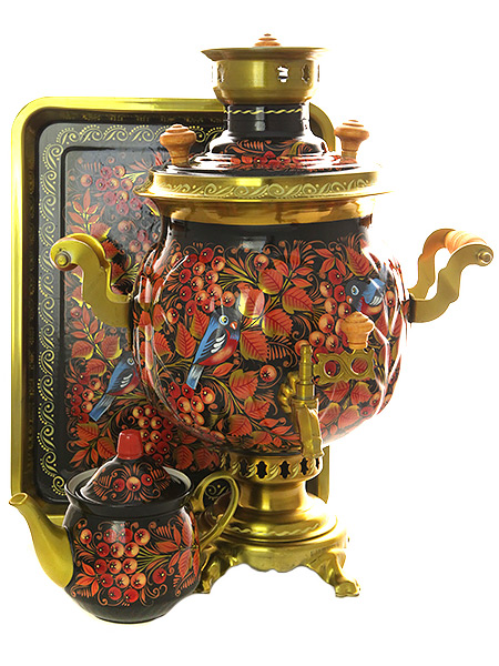 Комбинированный самовар 4,5 литра с художественной росписью Птица, рябина на черном фоне в наборе с подносом и чайником, арт. 300013Набор из самовара,подноса и заварочного чайника.&#13;<br>Труба для отвода дыма в комплекте.<br>