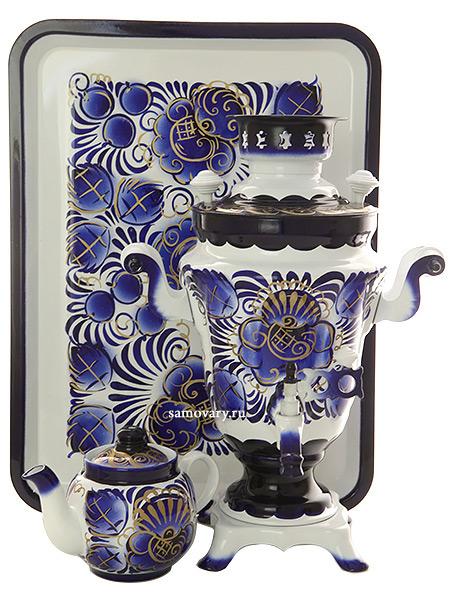 Набор самовар электрический 1,5 литра с художественной росписью Гжель, арт. 130263Самовары электрические<br>Комплект из трех предметов:латунный самовар, металлический поднос и заварочный чайник.<br>