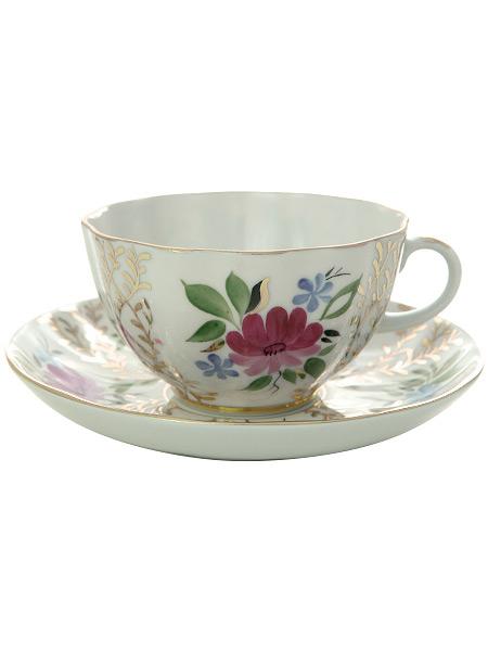 Чашка с блюдцем чайная форма Тюльпан, рисунок Золотые травки, Императорский фарфоровый заводФарфоровая чайная пара.<br>Объем - 250 мл.<br>