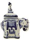 Чайница средняя Слонс росписью ГжельЕмкость для хранения чая.&#13;<br>Высота - 18 см.<br>