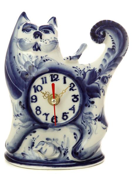 Часы с художественной росписью Гжель КотикиЧасы керамические с ручной росписью.<br>
