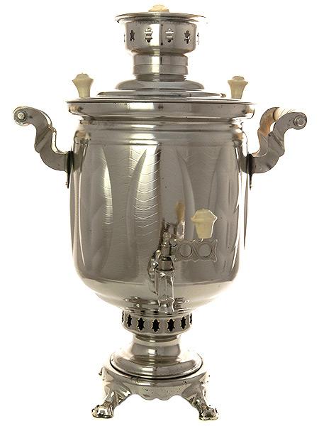 """Угольный самовар 5 литров """"цилиндр"""" никелированный """"Листья"""" произведен в 1980-90 годах в Туле, арт. 480110 Тула"""