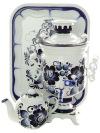 Набор самовар электрический 3 литра с художественной росписью Гжель цилиндр на напряжение 110 вольт, арт. 170006зСамовары электрические<br>Комплект из трех предметов:латунный самовар, металлический поднос и заварочный чайник.&#13;<br>Подходит для стран с напряжением в потребительской электросети 110 В без дополнительного адаптера.<br>