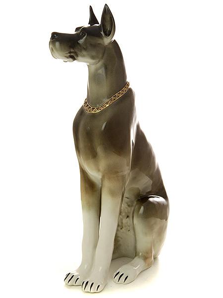 Скульптура форма Дог, рисунок Коричневый б.р., Императорский фарфоровый заводФарфоровая сувенирная фигурка животного.<br>Высота 34,2 см.<br>