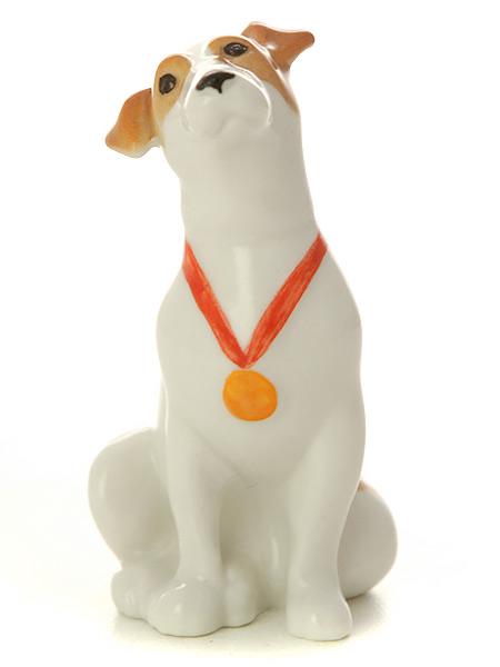 Скульптура Джек-рассел-терьер Лео, Императорский фарфоровый заводФарфоровая сувенирная фигурка животного.<br>