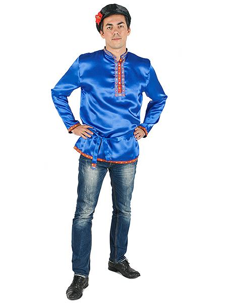 Косоворотка мужская атласная синяя, XS-XXL