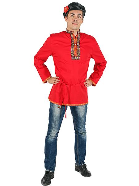 Косоворотка мужская хлопковая красная, XS-XXLТрадиционная русская рубаха с косым воротом.<br>Размер от XS до XXL.<br>