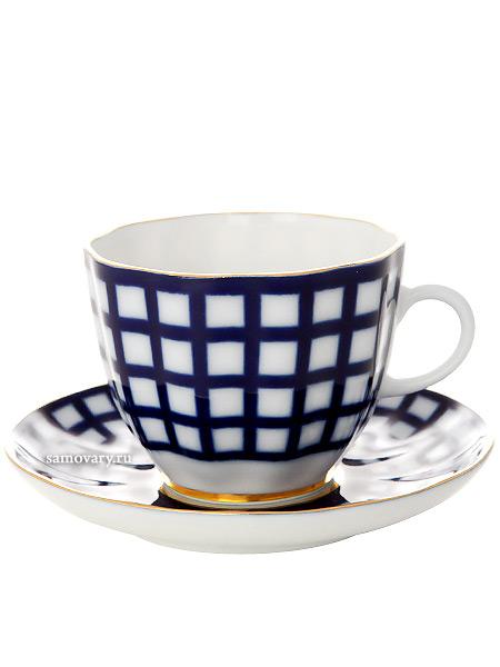 Кофейная чашка с блюдцем форма Тюльпан рисунок Кобальтовая клетка, Императорский фарфоровый заводФарфоровая кофейная пара.&#13;<br>Объем чашки - 140 мл.<br>