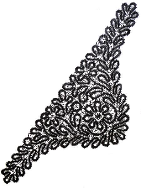 Кружевная косынка черная, арт. 7нхп-491Косынка ручной работы хлопковая.<br>Размер - 112*43 см.<br>