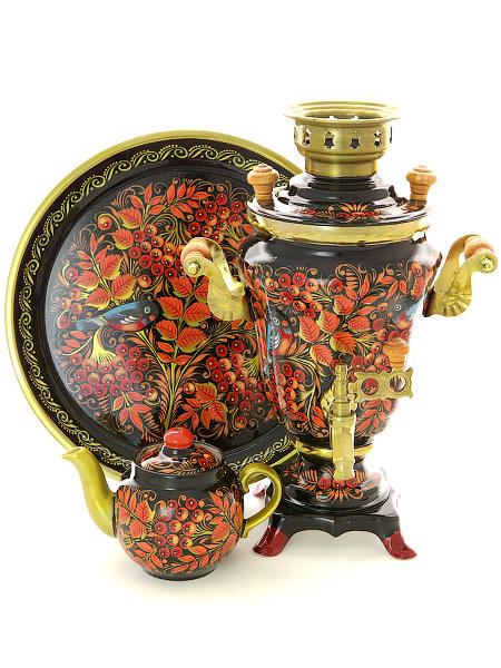 Набор самовар электрический 1,5 литра с художественной росписью Птица, рябина на черном фоне, арт. 130399Комплект из трех предметов:латунный самовар, металлический поднос и заварочный чайник.<br>