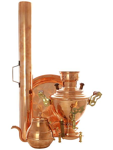 Угольный самовар на 2 литра Чаепитие медный, арт. 210512Подарочный комплект: угольный самовар бочонок на 2 литра, поднос, заварочный чайник и труба.<br>Набор изготовлен из меди.<br>