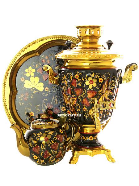 Набор самовар электрический 3 литра с художественной росписью Хохлома рыжая, конус, арт. 121111Самовары электрические<br>Комплект из трех предметов:латунный самовар, металлический поднос и заварочный чайник.<br>
