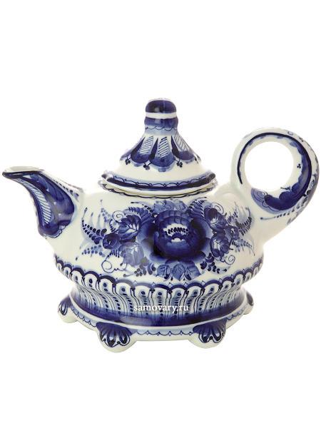 Чайник заварочный керамический Гжель с росписью ШатерЧайник керамический с ручной росписью.<br>