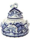 Сахарница Деревенька с художественной росписью ГжельКерамическая сахарница с ручной росписью.<br>