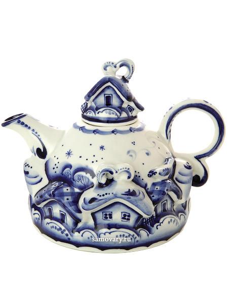 Чайник заварочный Деревенька малый с росписью ГжельЧайник керамический с ручной росписью.<br>