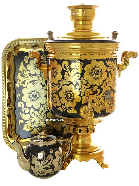 Угольный самовар 7 литров с художественной росписью Золотая хохлома цилиндр в наборе, арт. 220531Набор с термостойкой художественной росписью: угольный самовар, металлический поднос, керамический чайник.<br>Труба для отвода дыма в комплекте....<br>