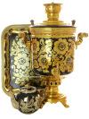 Угольный самовар 7 литров с художественной росписью Золотая хохлома цилиндр в наборе, арт. 220531Набор с термостойкой художественной росписью: угольный самовар, металлический поднос, керамический чайник.&#13;<br>Труба для отвода дыма в комплекте.<br>