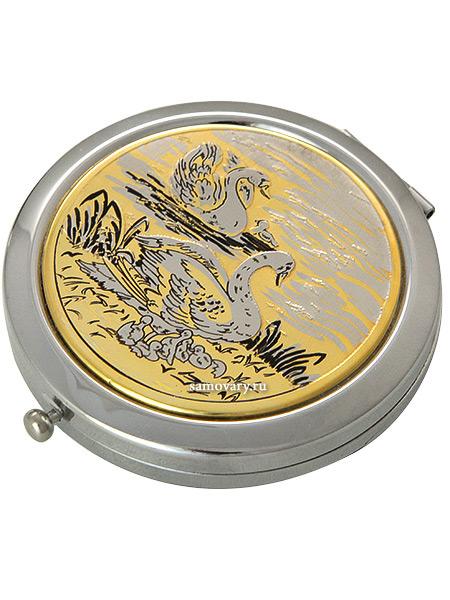 Позолоченное зеркало с гравюрой Семья лебедей Златоустовский заводЗеркало подарочно-сувенирное позолоченное с гравюрой.<br>Упаковано в стильную дизайнерскую коробку.<br>Ручная работа.<br>