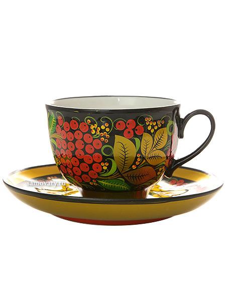 Чайная пара с художественной росписью Черный фон.РябинкаКерамическая чашка и блюдце.<br>Объем - 250 мл.<br>