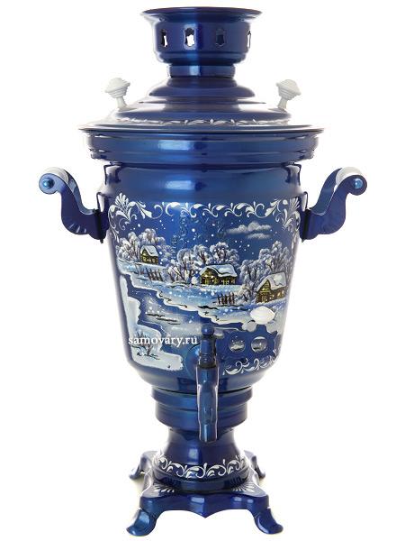 Электрический самовар 4 литра с художественной росписью Зимний вечер, арт. 130269Самовары электрические<br>Латунный самовар с термостойкой росписью.<br>