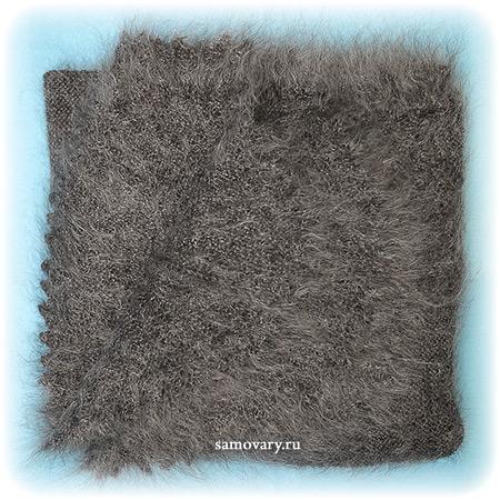 Оренбургский пуховый платок ручной работы плотной вязки, арт. ПП 0030, 125х125Палантин пуховый плотной вязки, цвет - серый.&#13;<br>Размер - 125х125 см.&#13;<br>Состав: козий пух – 85%, шелк натуральный – 15%<br>