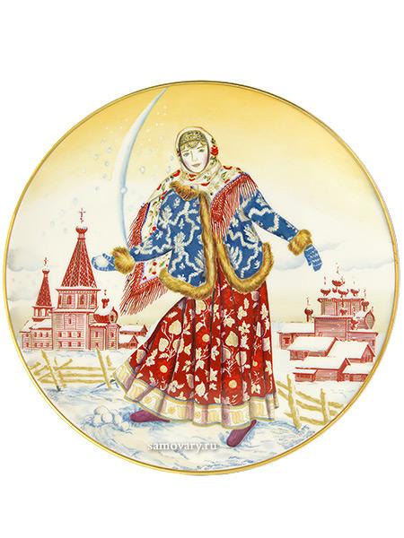 Тарелка декоративная форма Эллипс, рисунок Девушка со снежком, Императорский фарфоровый заводКоллекционная фарфоровая тарелка с авторской росписью.&#13;<br>Диаметр - 195 мм.<br>