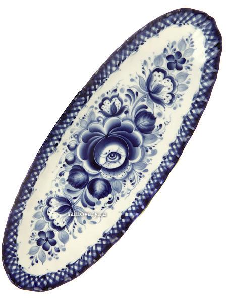 Селедочница керамическая с росписью Гжель № 3Селедочница керамическая с росписью.<br>