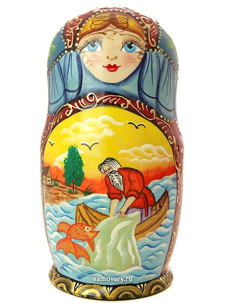 Набор матрешек Золотая рыбка, серия Сказки, арт. 535Набор из 5 штук. &#13;<br>Высота - 16 см.<br>