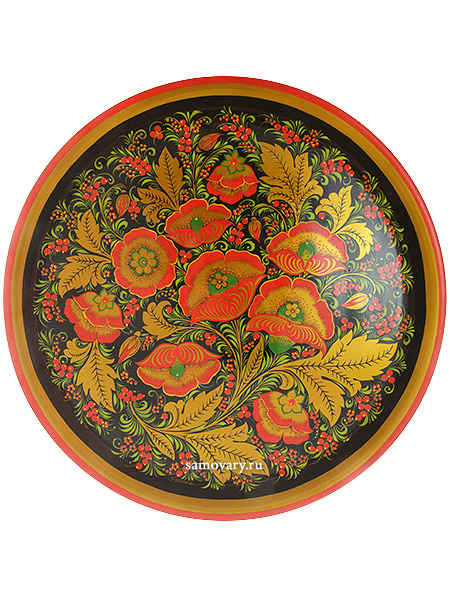 Тарелка-панно хохлома Маки 500Х20Деревянная тарелка-панно с хохломской росписью.&#13;<br>Размер - 500х20 мм.<br>