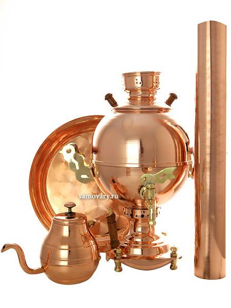 Набор с угольным самоваром на 3 литра Чаепитие-шар медный, арт. 210516Подарочный комплект: угольный самовар шар на 3 литра, поднос, заварочный чайник и труба.&#13;<br>Набор изготовлен из меди.<br>