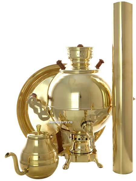 Набор с угольным самоваром на 3 литра Чаепитие-шар латунный, Москва арт. 210513Подарочный комплект: угольный самовар шар на 3 литра, поднос, заварочный чайник и труба.&#13;<br>Набор изготовлен из латуни.<br>