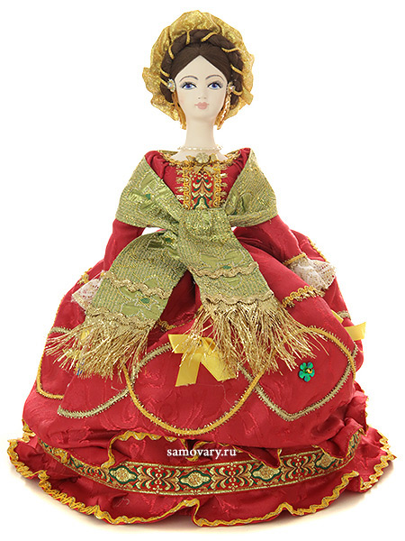 Кукла на чайник Мария в красном, арт. 18Кукла тряпичная декоративная на заварочный чайник.<br>