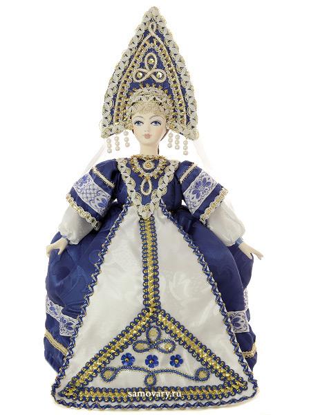 Кукла на чайник Аленушка в синем, арт.30Кукла тряпичная декоративная на заварочный чайник.<br>