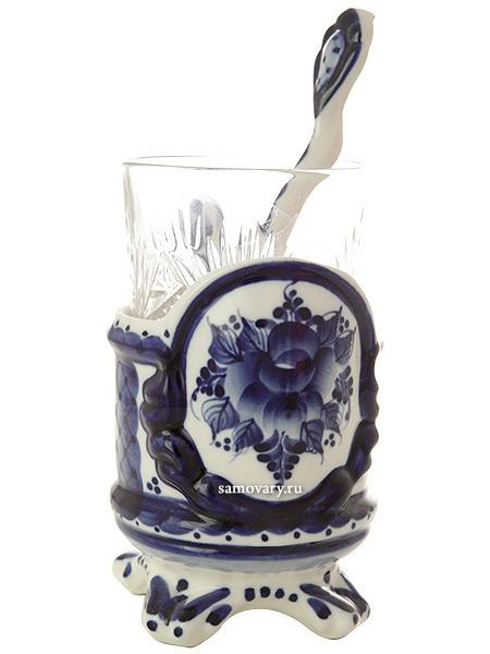 Набор с подстаканником Гжель премьер, арт.15Комплект из подстаканника, ложки,хрустального стакана.&#13;<br>Подписан автором.<br>