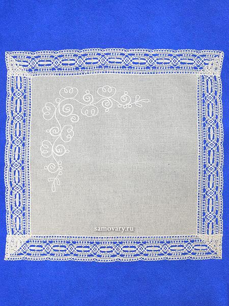 Льняная салфетка светло-серая со светлым кружевом (Вологодское кружево), арт. 6нхп-743, 33х33 Тульские самовары