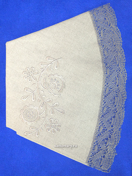 Льняная круглая скатерть серая с серым кружевом и кружевной вышивкой (Вологодское кружево), арт. 5нхп-616а, d-90 Тульские самовары