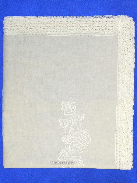Вологодская льняная скатерть серая со светлым кружевом и кружевом, арт. 1С-968, 230х150Скатерть с Вологодским кружевом.&#13;<br>Размер - 230х150 см.<br>