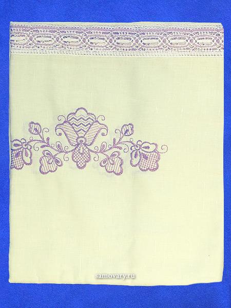 Льняная скатерть Вологодское кружево, прямоугольная цвет топленого молока с фиолетовой вышивкой и кружевом (Вологодское кружево), арт