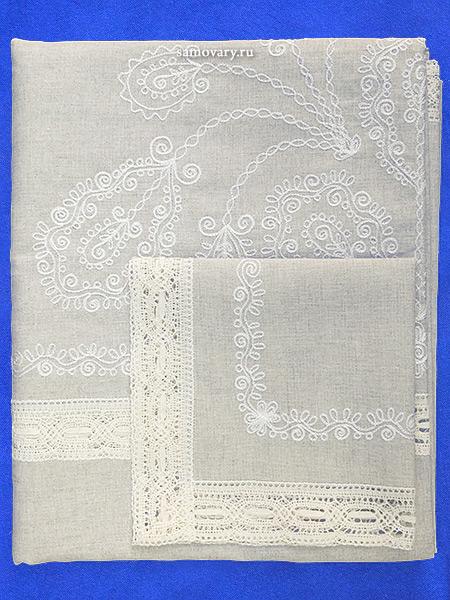 Комплект столового белья - лен с вышивкой Вологодским кружевом, цвет серый, светлое кружево, арт. 6нхп-664