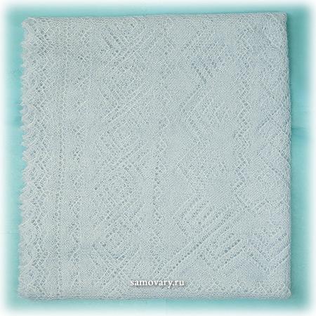 Оренбургский пуховый платок, голубой, арт. А 140-04Ажурный платок, цвет - голубой.&#13;<br>Размер - 140х140 см.&#13;<br>Состав: пух козий – 78%, вискоза – 22%.<br>