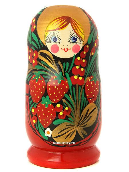 Матрешка Хохлома классическая, арт. 52Акция с 15 по 31 марта - купи 2 матрешки за 1580 рублей и получи третью в подарок!&#13;<br>Набор из 5 штук.&#13;<br>Высота - 12 см.<br>
