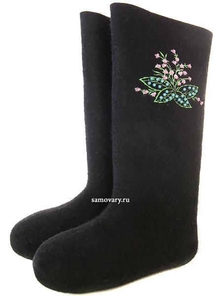 Валенки женские артикул 210ВО-13 черные с вышивкойНатуральная валяная обувь с вышивкой.<br>Размеры 23-28.<br>