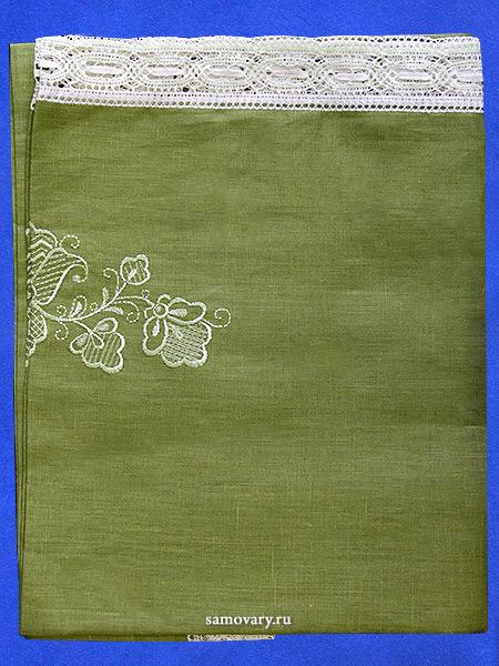 Льняная квадратная скатерть зеленая со белым кружевом, арт. 1с-967, 150х150Скатерть с кружевом.<br>Размер - 150*150 см.<br>