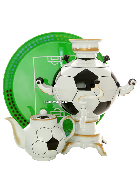 Набор самовар электрический 3 литра шар с художественной росписью Мяч, арт. 151395Комплект из трех предметов: тульский латунный самовар, металлический поднос и заварочный чайник.<br>